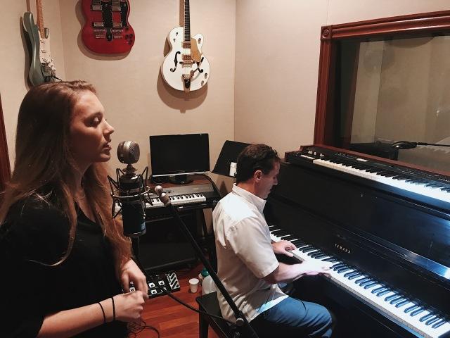 Mary Koenig and Jeffrey Zagaria rehearsing for a recording.